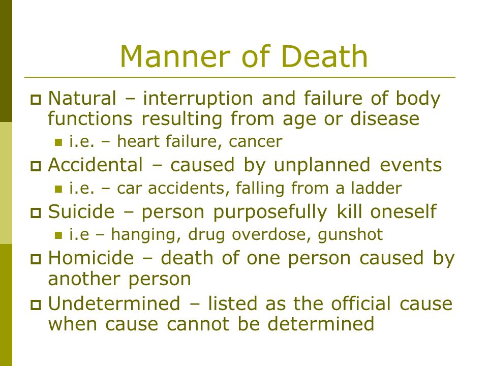 Manner of Death Natural – interruption and failure of body functions resulting from age or disease.