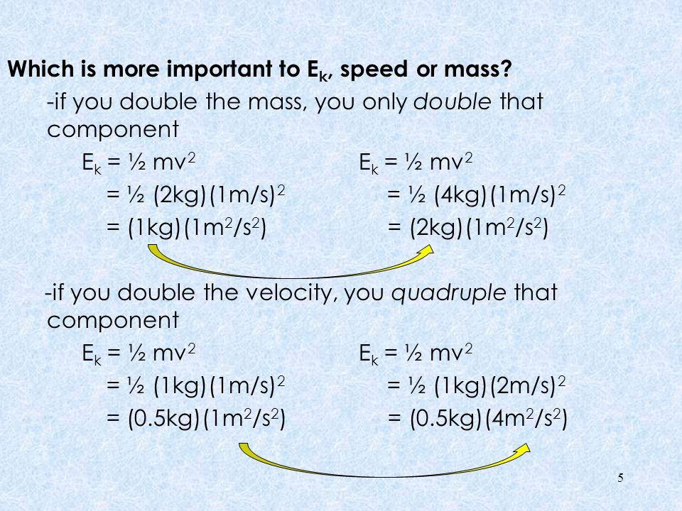 Which is more important to Ek, speed or mass