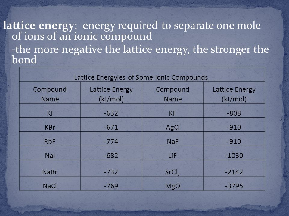lattice energy: energy required to separate one mole of ions of an ionic compound -the more negative the lattice energy, the stronger the bond