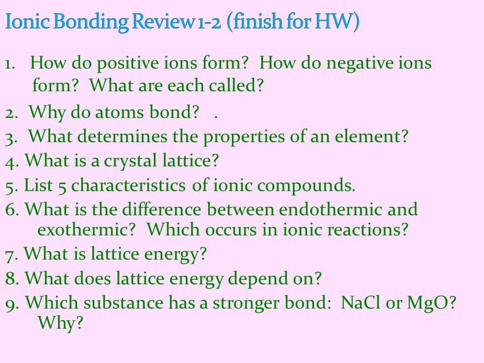 Ionic Bonding Review 1-2 (finish for HW)