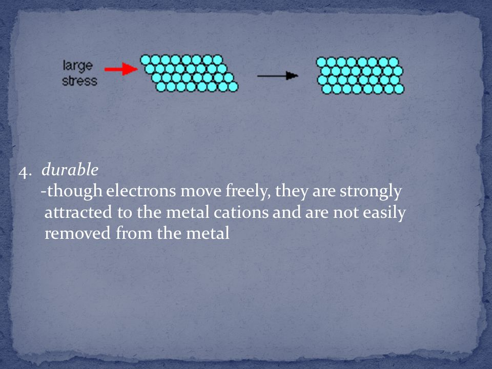 4. durable -though electrons move freely, they are strongly. attracted to the metal cations and are not easily.