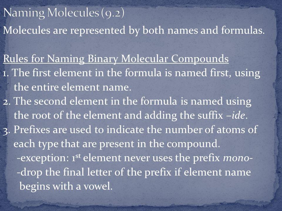 Naming Molecules (9.2)