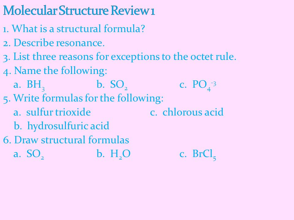 Molecular Structure Review 1
