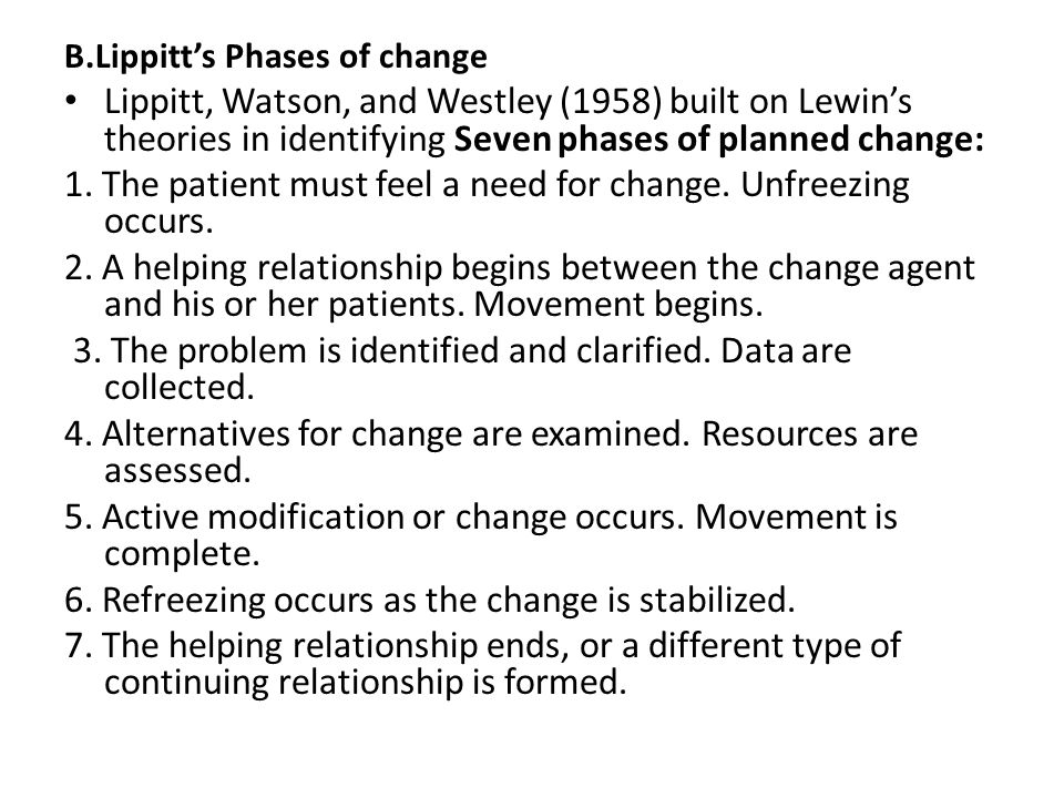 havelocks theory of change Havelock's theory of change can be used in nursing for planned change projects it is based on kurt lewin's theory of change and has six steps.