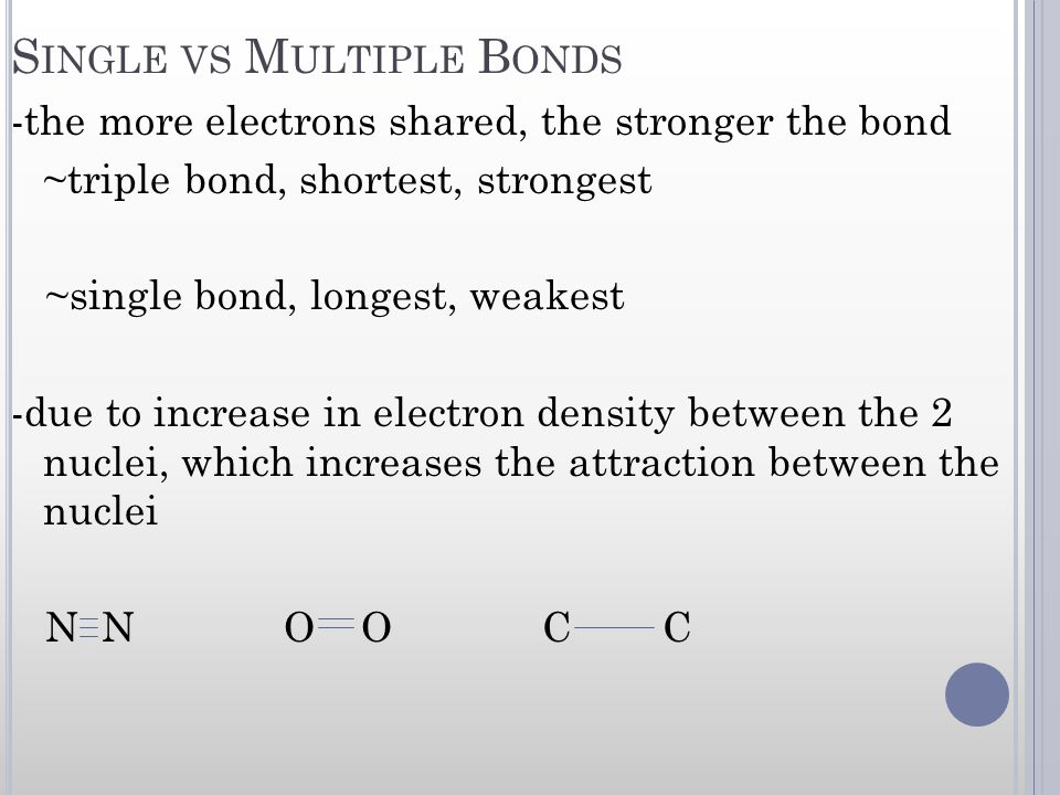 Single vs Multiple Bonds