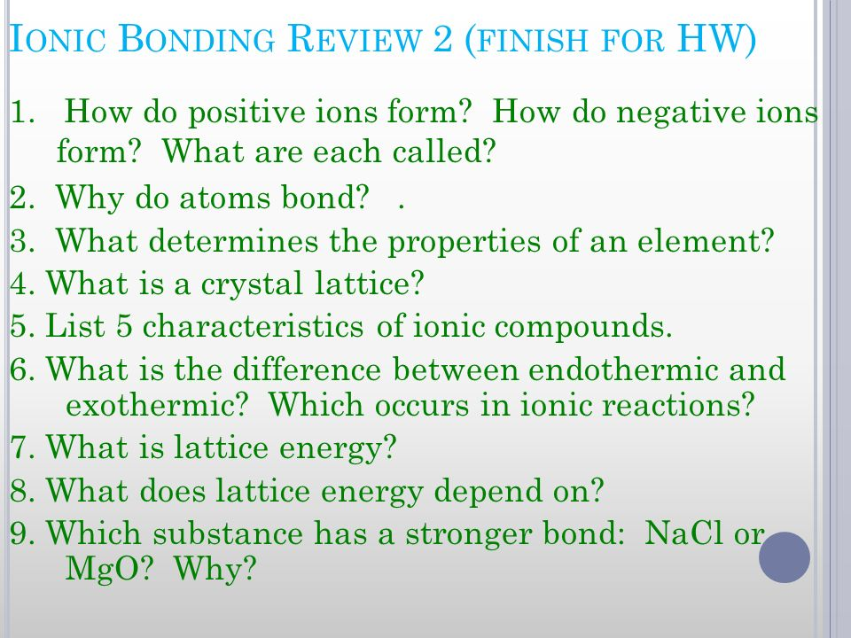 Ionic Bonding Review 2 (finish for HW)
