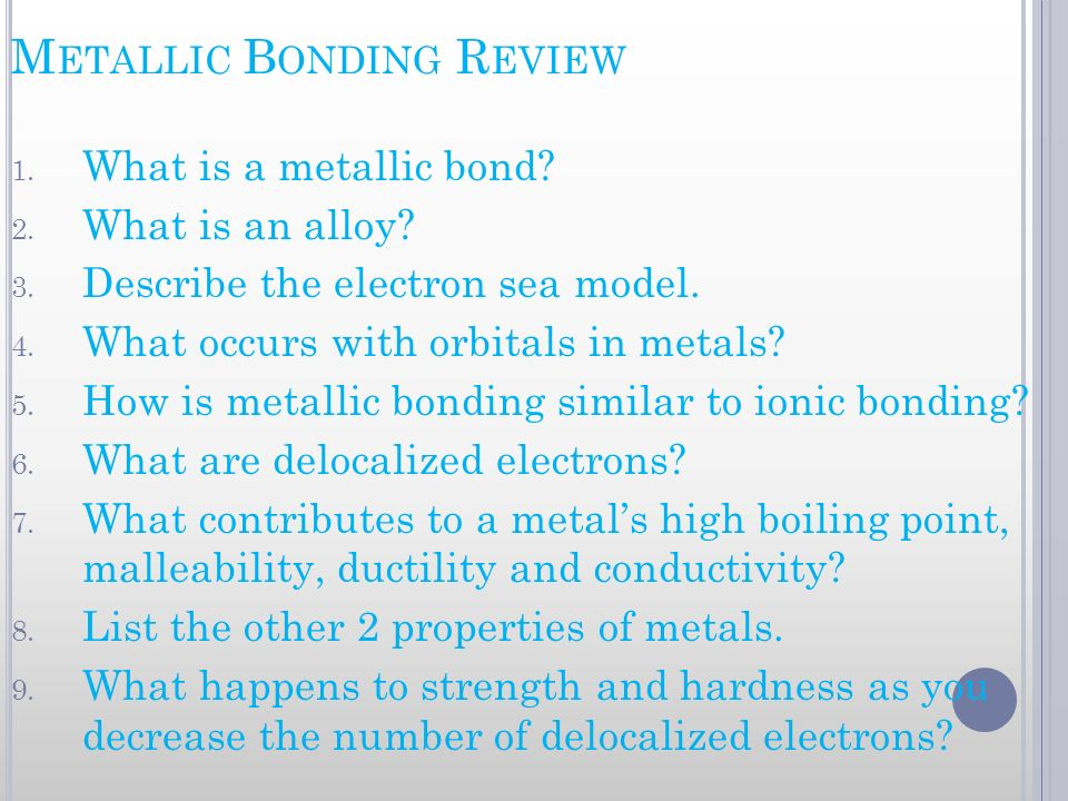 Metallic Bonding Review