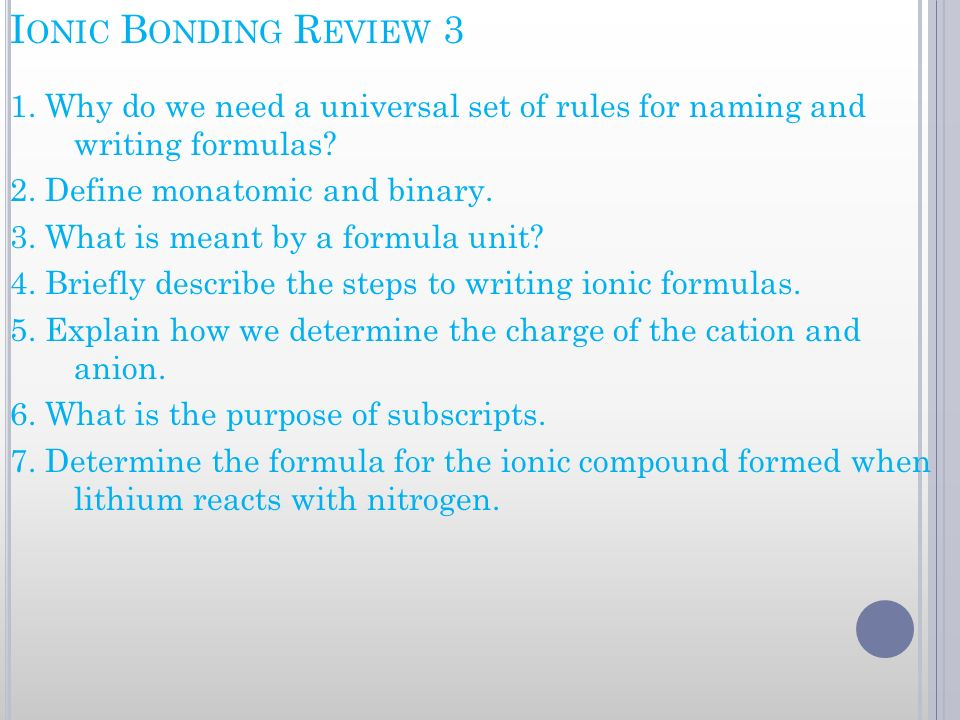 Ionic Bonding Review 3