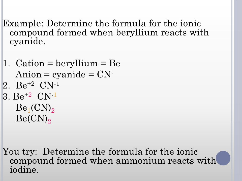 Example: Determine the formula for the ionic compound formed when beryllium reacts with cyanide.