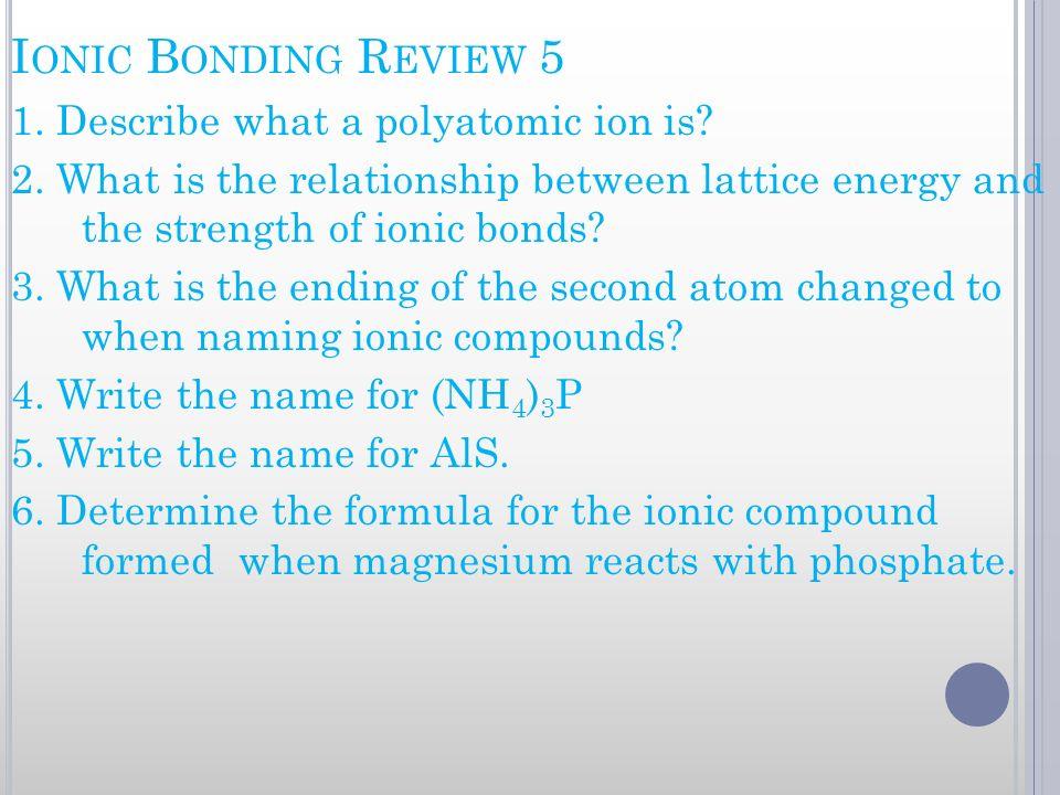 Ionic Bonding Review 5