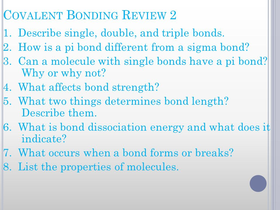 Covalent Bonding Review 2