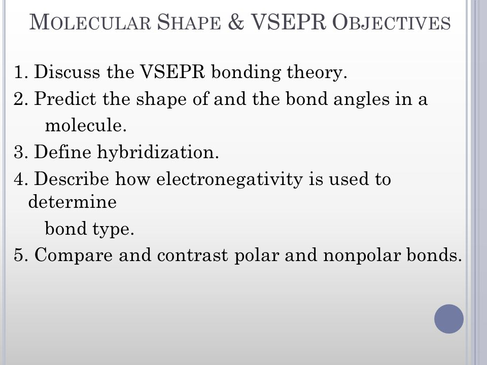 Molecular Shape & VSEPR Objectives