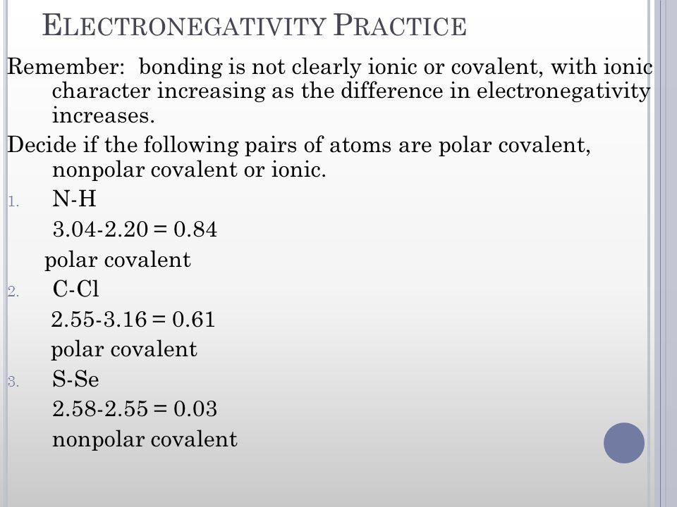Electronegativity Practice