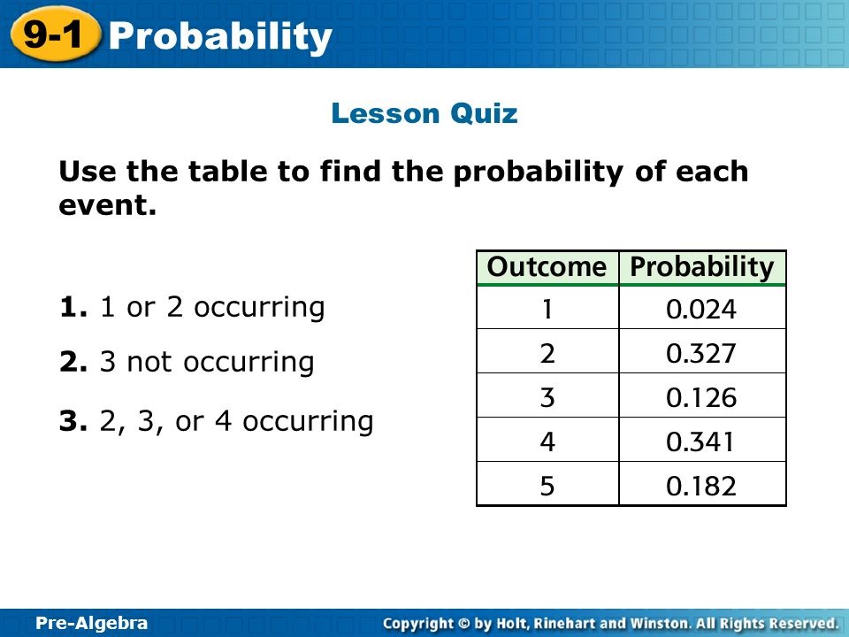 Lesson Quiz Use the table to find the probability of each event. 1. 1 or 2 occurring. 2. 3 not occurring.