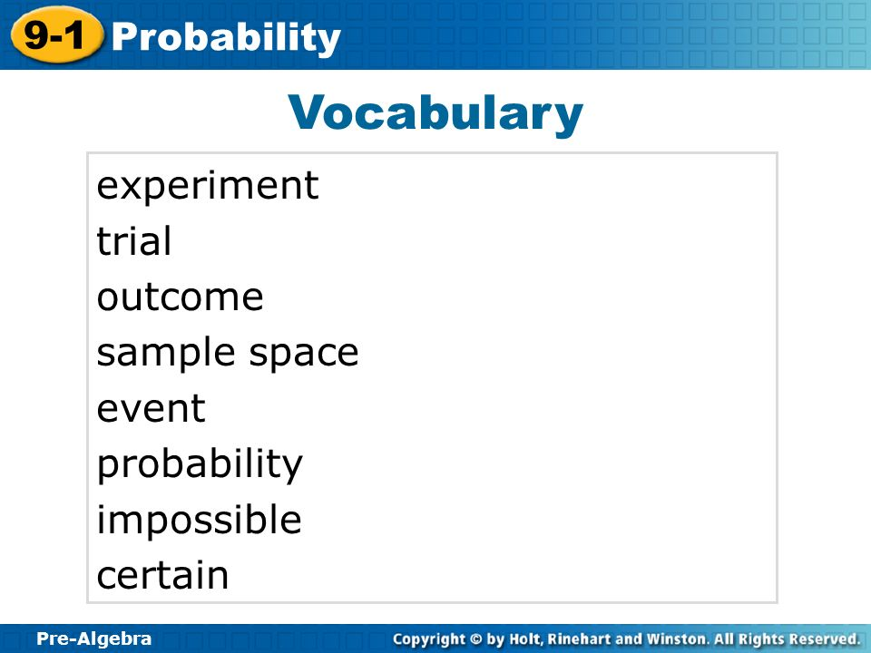 Vocabulary experiment trial outcome sample space event probability