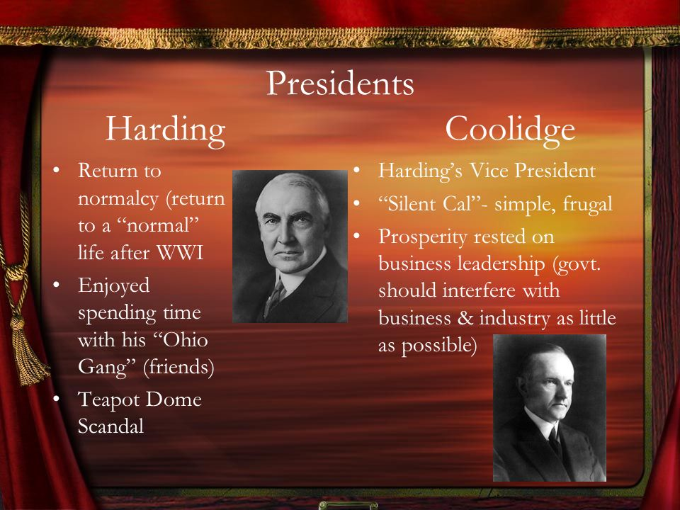 Presidents Harding Coolidge