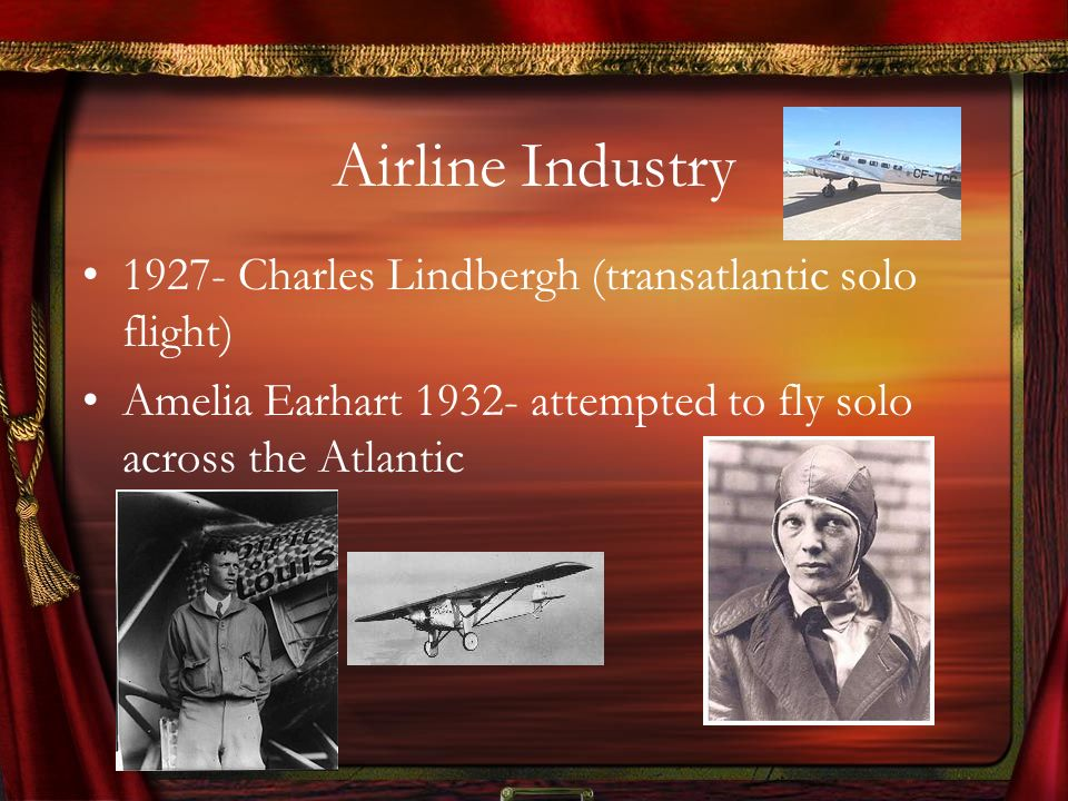 Airline Industry 1927- Charles Lindbergh (transatlantic solo flight)