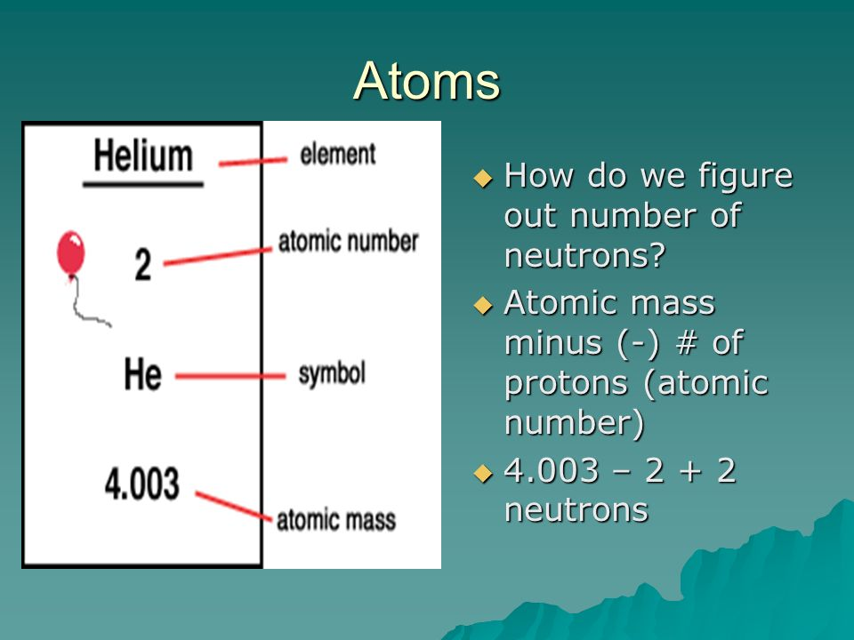 Atoms How do we figure out number of neutrons