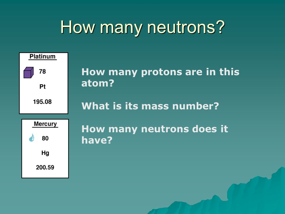 How many neutrons How many protons are in this atom