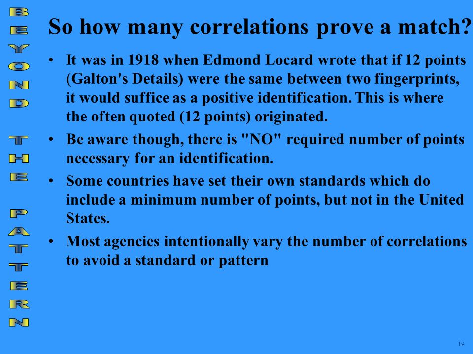 So how many correlations prove a match