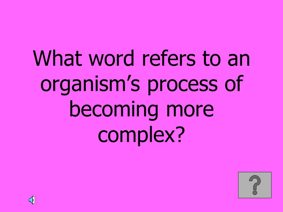 What word refers to an organism's process of becoming more complex