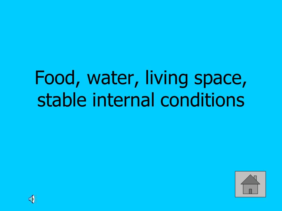 Food, water, living space, stable internal conditions