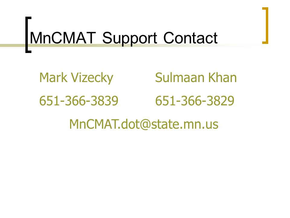 MnCMAT Support Contact
