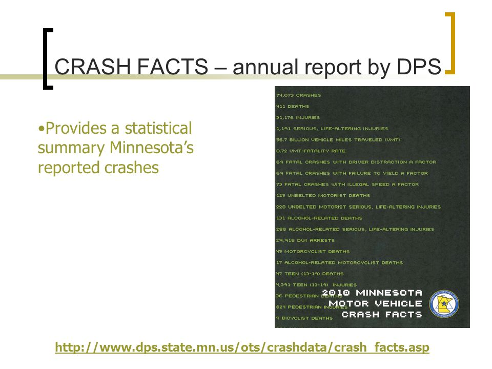 CRASH FACTS – annual report by DPS