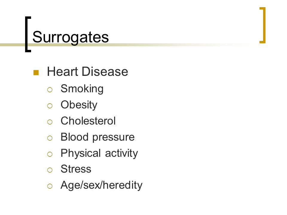 Surrogates Heart Disease Smoking Obesity Cholesterol Blood pressure
