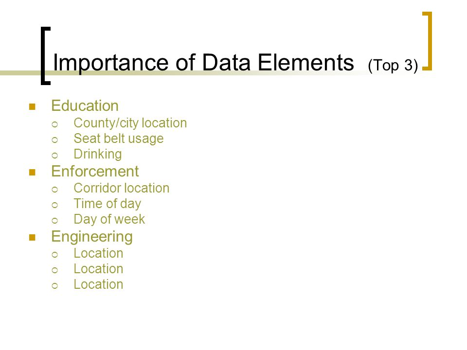 Importance of Data Elements (Top 3)