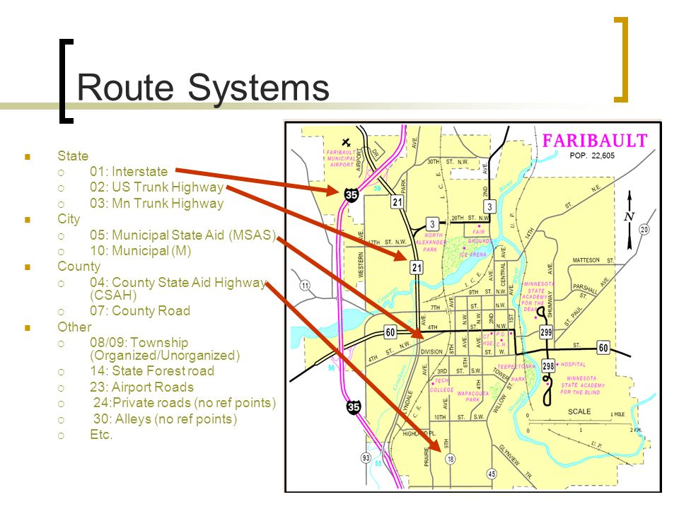 Route Systems State 01: Interstate 02: US Trunk Highway