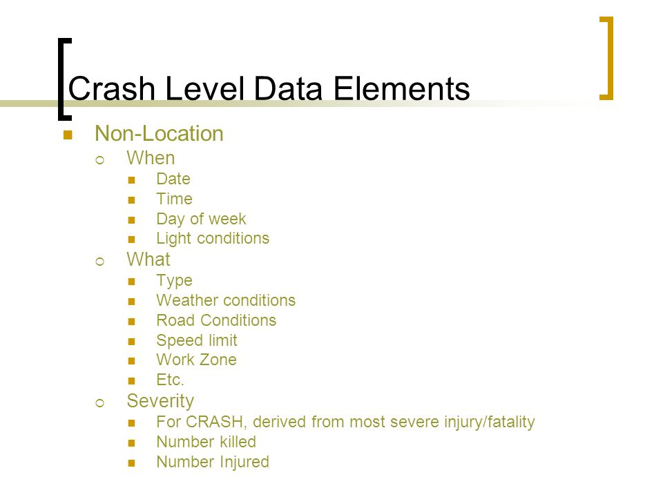 Crash Level Data Elements