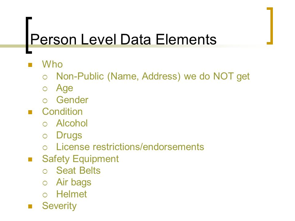 Person Level Data Elements