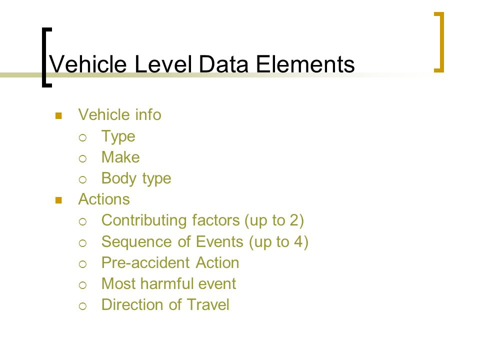 Vehicle Level Data Elements