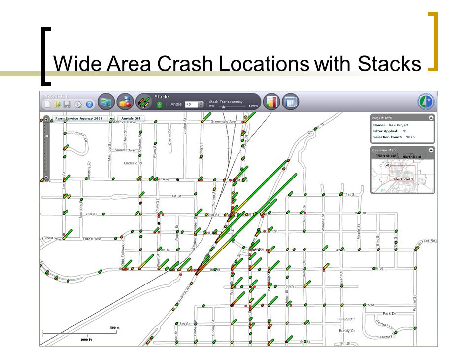 Wide Area Crash Locations with Stacks