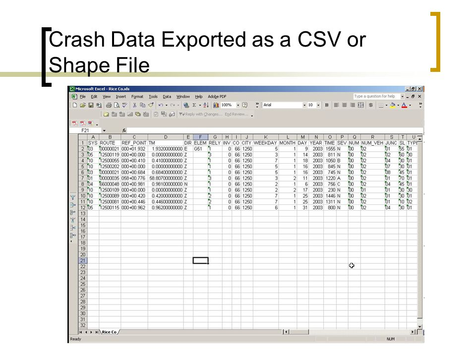Crash Data Exported as a CSV or Shape File