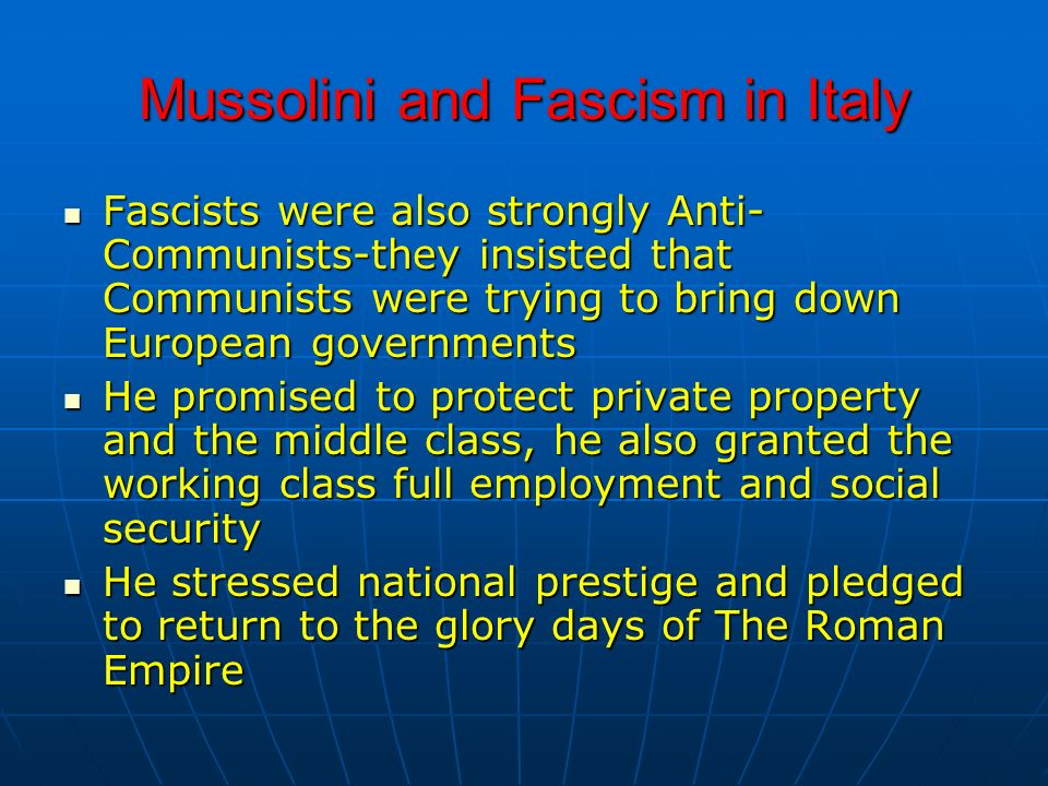 Mussolini and Fascism in Italy