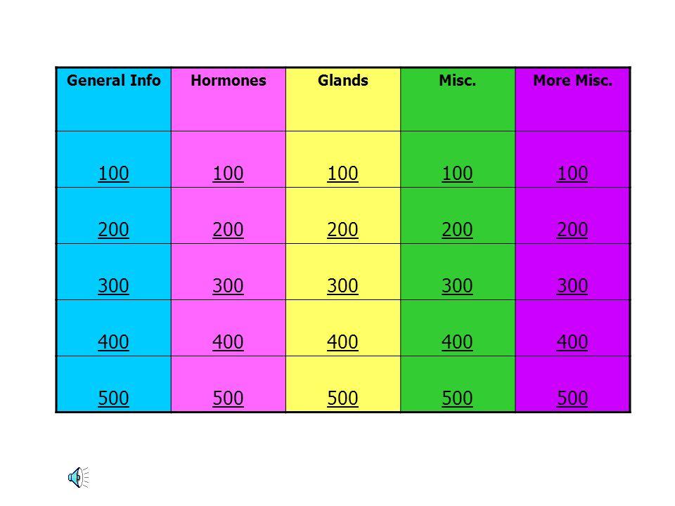 General Info Hormones Glands Misc. More Misc. 100 200 300 400 500