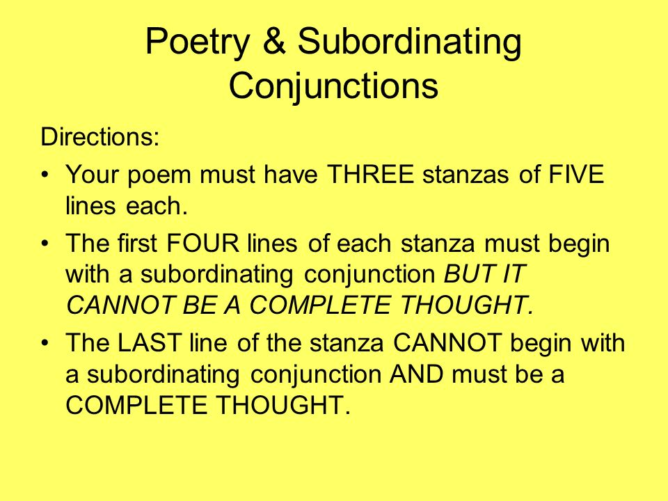 Poetry & Subordinating Conjunctions