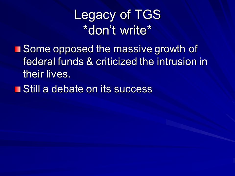 Legacy of TGS *don't write*