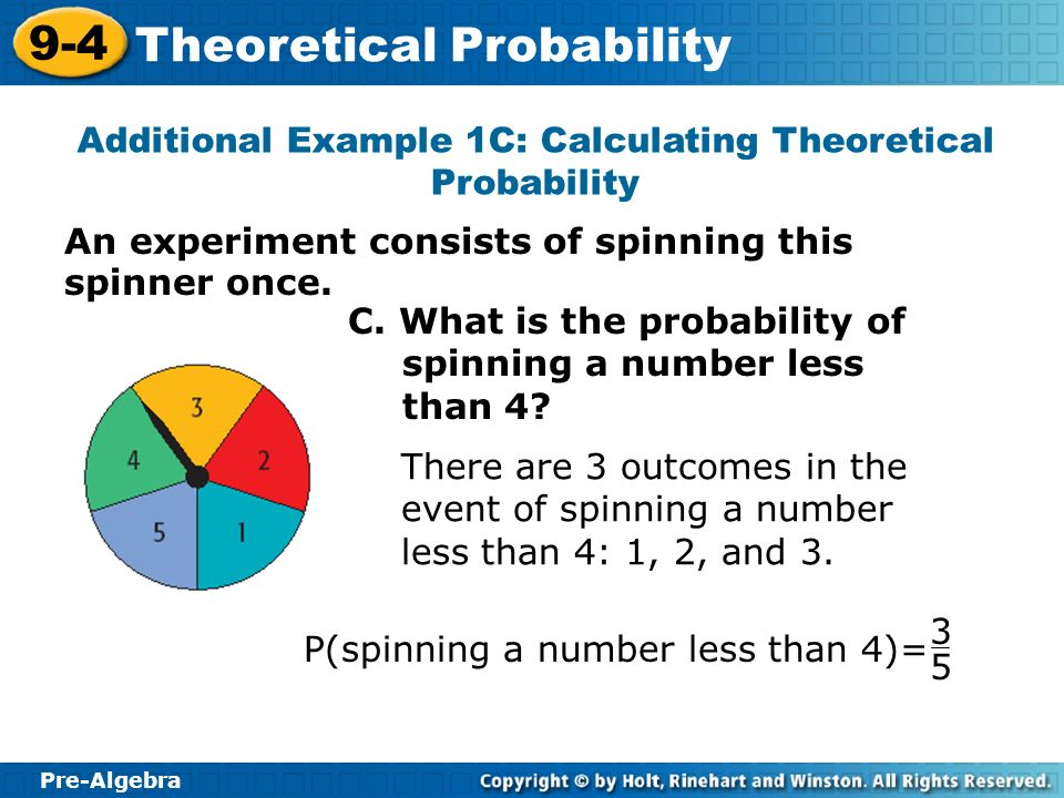 Additional Example 1C: Calculating Theoretical Probability