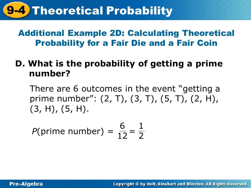 Additional Example 2D: Calculating Theoretical Probability for a Fair Die and a Fair Coin