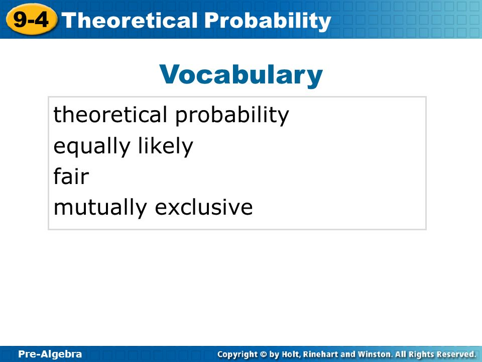 Vocabulary theoretical probability equally likely fair