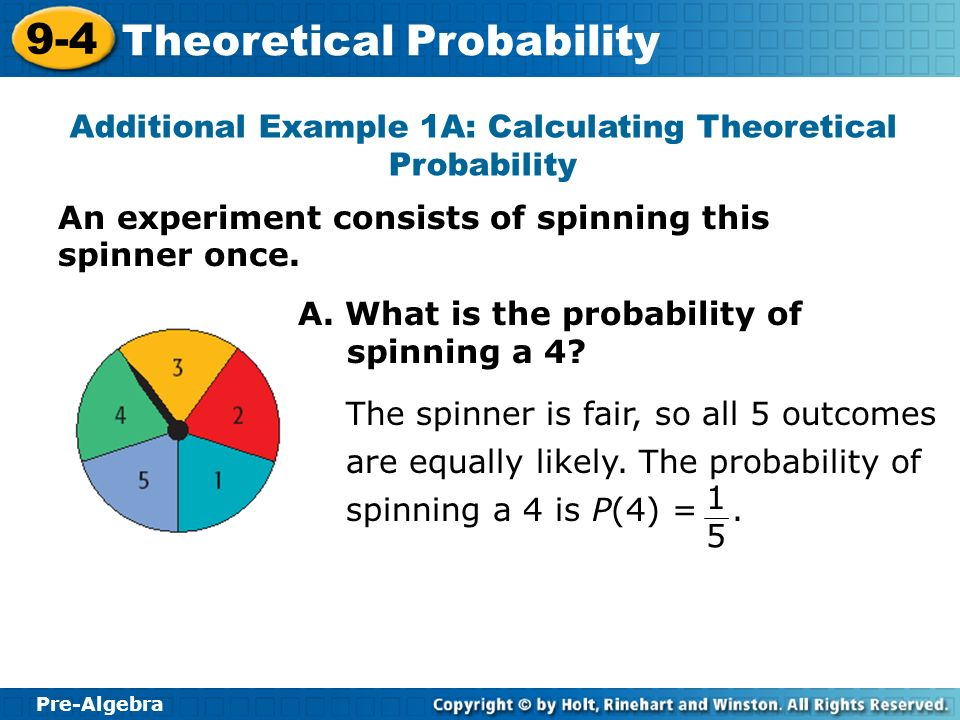 Additional Example 1A: Calculating Theoretical Probability