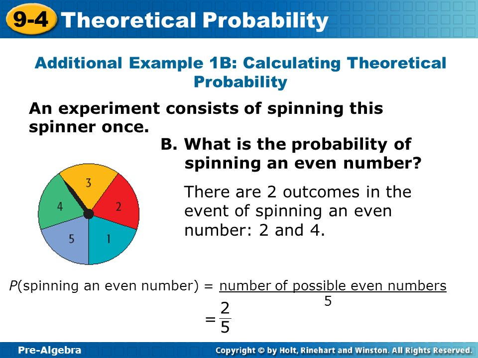 Additional Example 1B: Calculating Theoretical Probability