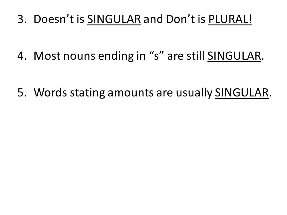 Doesn't is SINGULAR and Don't is PLURAL!
