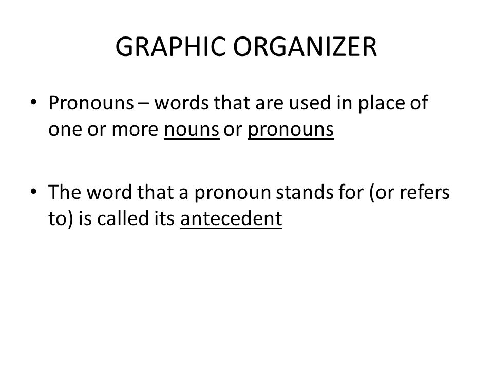 GRAPHIC ORGANIZER Pronouns – words that are used in place of one or more nouns or pronouns.