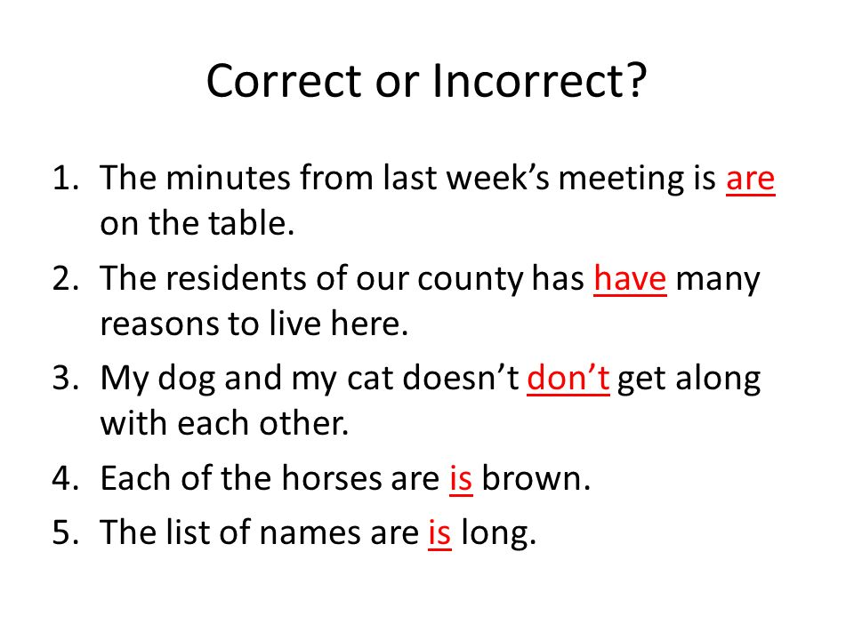 Correct or Incorrect The minutes from last week's meeting is are on the table. The residents of our county has have many reasons to live here.