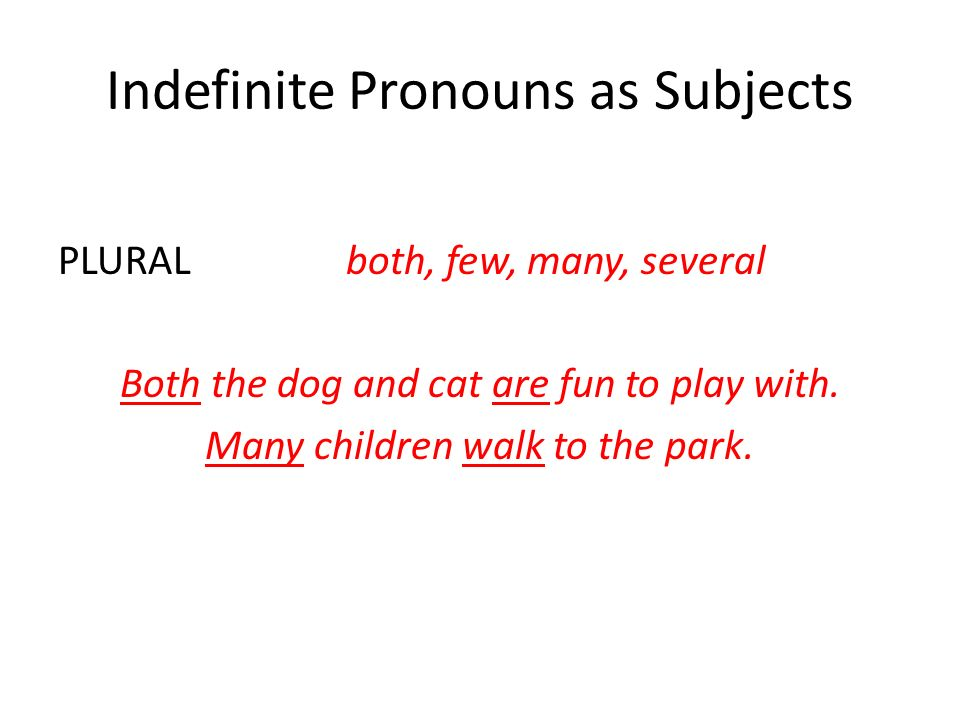 Indefinite Pronouns as Subjects