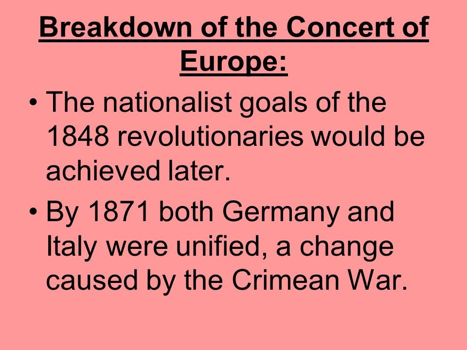 Breakdown of the Concert of Europe: